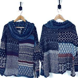 Free People Large Cowl Neck Sweater Boho